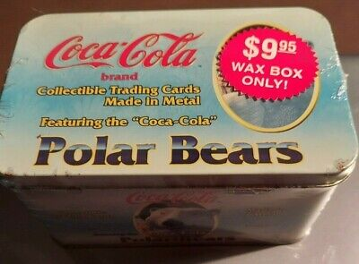 Coca Cola Brand Collector Cards-- Polar Bears Metal Cards in Tin