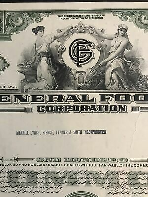General Food Corporation stock certificate, owner - Merrill Lynch 1965