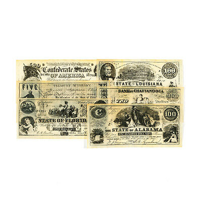1 set of 6 different Southern states antiqued reproduction currency Set B