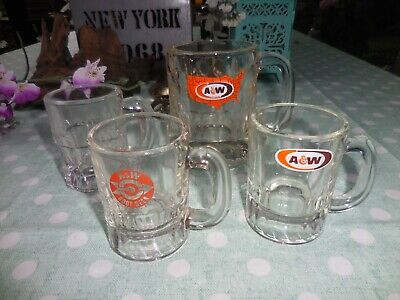 4 Vintage A&W Root Beer Mugs ~ 3 Child's Mugs & 1 Small Thumbprint Mug