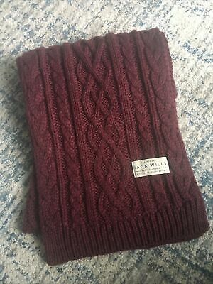 EXCEL CON Jack Wills burgundy cable knit warm cosy scarf