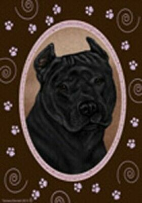 Paws House Flag - Black American Pit Bull Terrier 17407