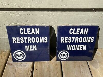 👀 VINTAGE nos PURE OIL Men & Women PORCELAIN RESTROOM SIGNS ⚠️