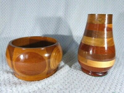 Two Pieces Vintage Cambridgeware Style Inlaid Parquetry Wooden Vase & Bowl