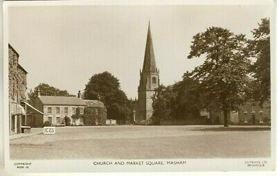 A Lilywhite Real Photo Post Card of Church And Market Square, Masham. N. Yorks'