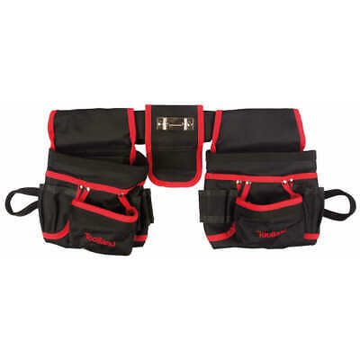 Toolland Electrician's Double Tool Belt Pouches Black and Red Waist Bag FI68