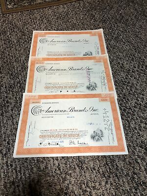 """Lot of 3 1960""""s American Brands Stock Certificate Tobacco  Indian On Vignette"""