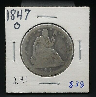 1847-O Silver Seated Liberty Half Dollar Reeded Edge 50c New Orleans M1359