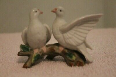 "Ceramic bisque Doves on branch---2.5"" h X 3.25 w X 1.5 d Taiwan"