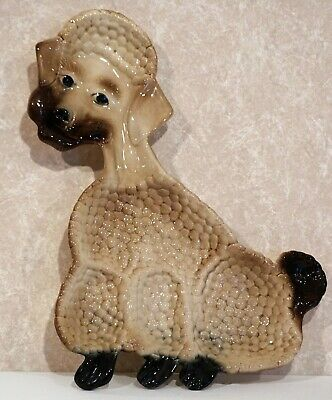 California USA Pottery Poodle Dog Ceramic Collectible Wall Hanging Tray Dish