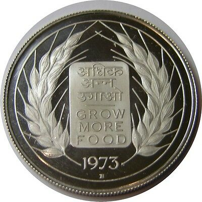 elf India 10 Rupees 1973 B Proof Silver FAO