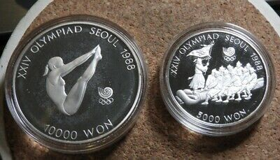 elf South Korea 2 pc 1986-7 Silver Proof Set Olympics Diving Tug-of-War