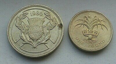 Great Britain UK £2 Pounds 1986 KM 947; 1985 £1 Pound coin KM 941 world coin lot