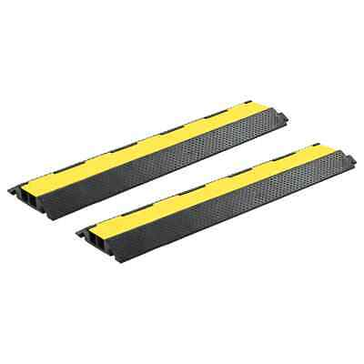vidaXL 2x Cable Protector Ramps 2 Channels Rubber 101.5cm Wire Road Cover