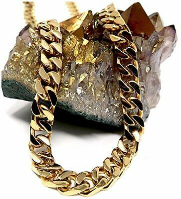 14K Gold Cuban Link Chain Necklace for Men Real 14MM 14ct Karat Diamond Cut
