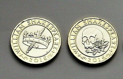 2 x 2016 Commemorative Shakespeare £2 Coins, Tragedies & Histories