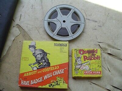 3 - 8mm Prerecorded Home Movies Oswald Rabbit, Abbot & Costello, and ?