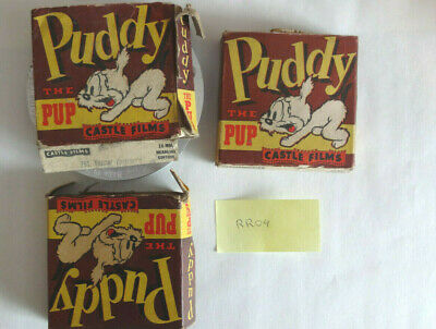 Castle Films, 16 mm movies, lot of 3. Puddy the Pup, #786, #791, and #794