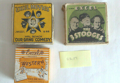 Excell Movie Films, 16 mm movies lot of 3. Our Gang, 3 Stooges, Fighting Mad