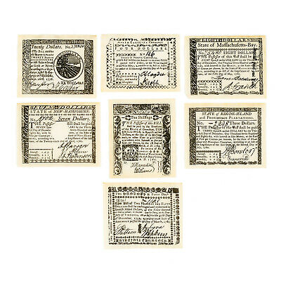 7 diff. 1778-81 USA uniface Colonial & Revolutionary Set B currency reproduction