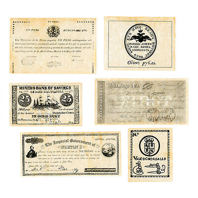 1 set of 6 diff. California uniface 1782-1879 reproduction paper money