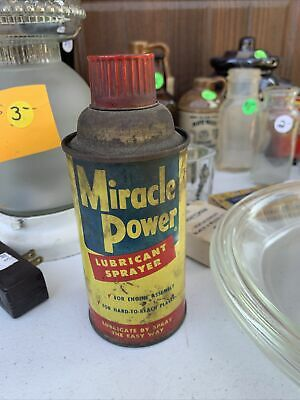 Vintage Miracle Power Lubricants, Oil Can Tin Metal Advertising