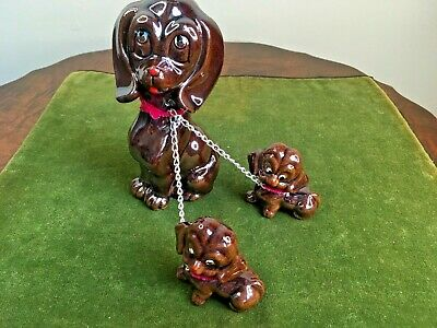 Vintage Dog on Chain Puppies Family Japan Mid Century Red Ware Ceramic Figurine