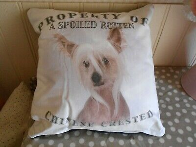 Chinese Crested Dog Cushion PILLOW SPOILED ROTTEN PROPERTY HAIRLESS DOG