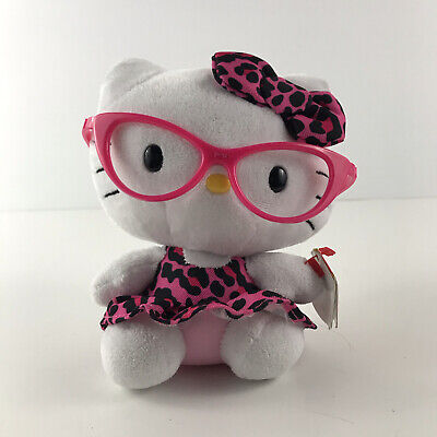 "TY BEANIE BABIES 2013 HELLO KITTY NERD LEOPARD GLASSES 5.5"" BY SANRIO -With Tags"