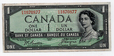 Canada 1954 $1 Devills Face Bank Note F/VF Very Nice Note Beattie/Coyne