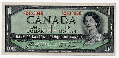 Canada 1954 $1 Devills Face Bank Note Very Fine Very Nice Note Coyne/Towers
