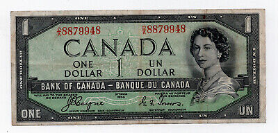 Canada 1954 $1 Devills Face Bank Note Fine Nice Note Coyne/Towers