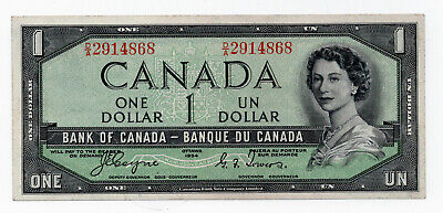 Canada 1954 $1 Devills Face Bank Note Extra Fine Stunning Note Coyne/Towers