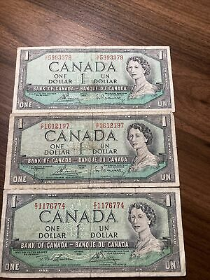 Lot Of 3 1954 $1 One Dollar Canadian Note Bill. Avg Circulated