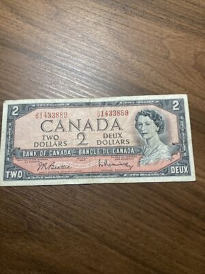 1954 Canadian Two Dollar Bill Circulated