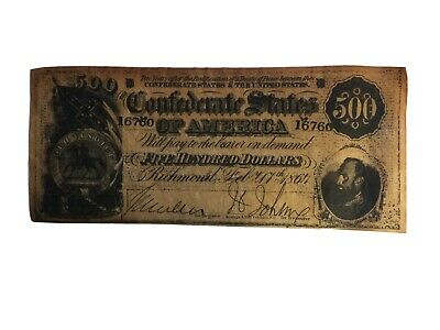 Confederate States Of America $500 bill - Reproduction