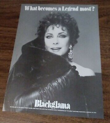 1985 1 PAGE ADVERTISEMENT Blackglama Fur AD Features Elizabeth Tylor