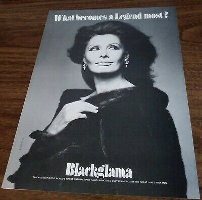 1982 1 PQAGE ADVERTISEMENT Blackglama Fur AD Features Sophia Loren
