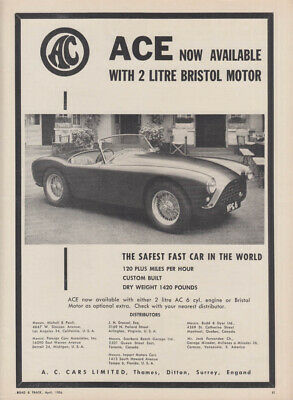 Now available with 2 litre Bristol Motor - Ace Roadster A C Cars Ltd ad 1956