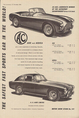The safest fast sports car in the world! AC Ace & Aceca ad 1956 1957