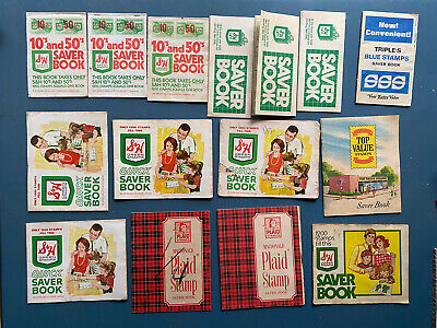 Lot Of 16 Trading Stamps Books S & H, Triple S Blue, MacDonald Plaid, Top Value