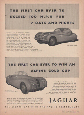 1st car to exceed 100 mph for 7 days & nights Jaguar XK-120 ad 1953