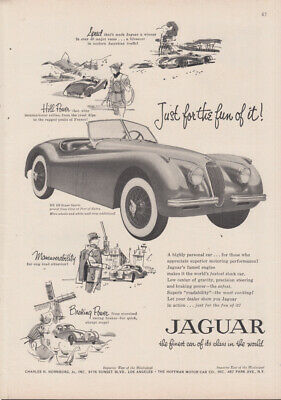 Just for the fun of it! Jaguar XK-120 Roadster ad 1954 NY