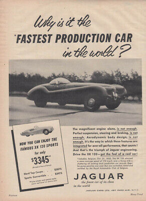 Why is it the Fastest Production Car in the world? Jaguar XK-120 ad 1954 MT