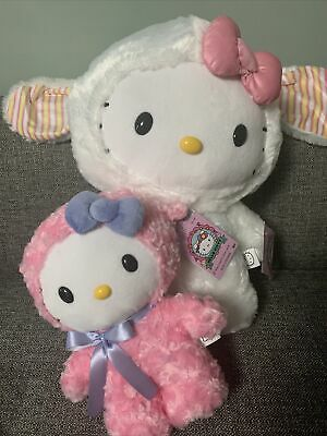 "Hello Kitty Easter Bunny Greeter + Side Stepper 2021 ""TWO"" Plush Set"