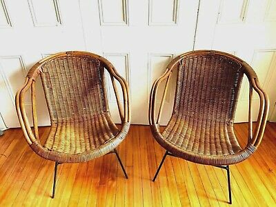 Mid Century Bentwood Rattan Wicker Wrought Iron 50s Chairs 779 99 Picclick