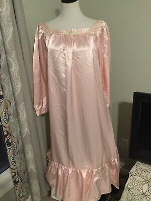 Vtg Style Fair Pink Satin Long Nightgown Negligee Lingerie Slip 48 50 3X