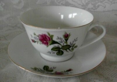 Beautiful Vintage Asian Pink Roses Fine China Cup & Saucer - Gold Trim