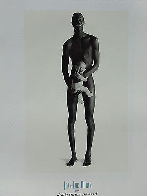 Jean-Luc Dubin 20x27 Print Nude Man with Baby Black & White Photography Poster