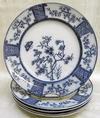 Furnival Flow Blue Set of 5 China Dinner Plates